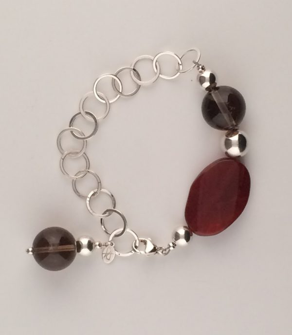 Sterling Silver Red Agate and Smokey Quartz Bracelet