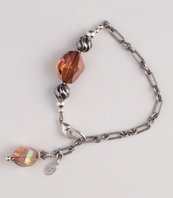 Blackened Sterling Silver Textured Chain with Copper Swarovski Bracelet