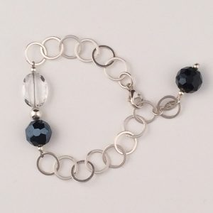 Sterling Silver Circle Chain and Chinese Crystal Bracelet