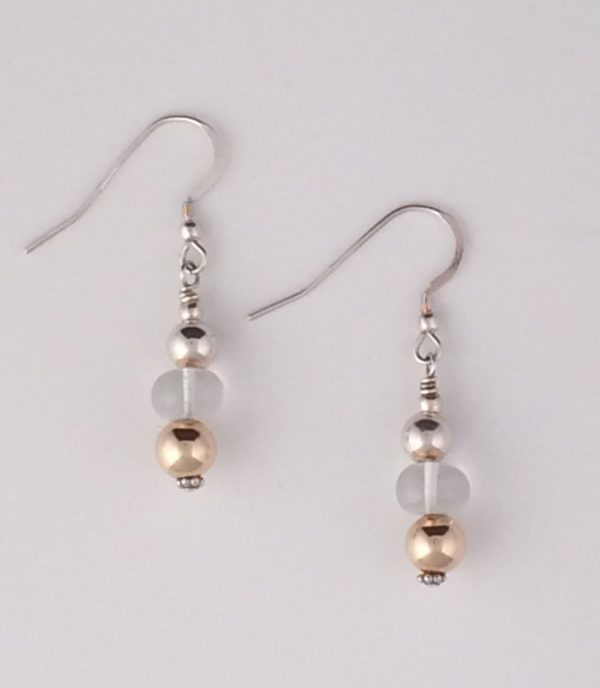 Sterling Silver , Gold and Quartz Crystal Earrings