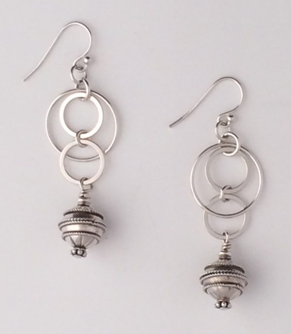Sterling Silver Bali and Circle Drop Earrings