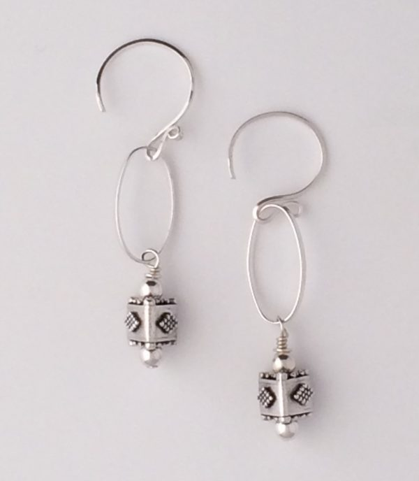 Sterling Silver Oval Link and Bali Bead Earrings
