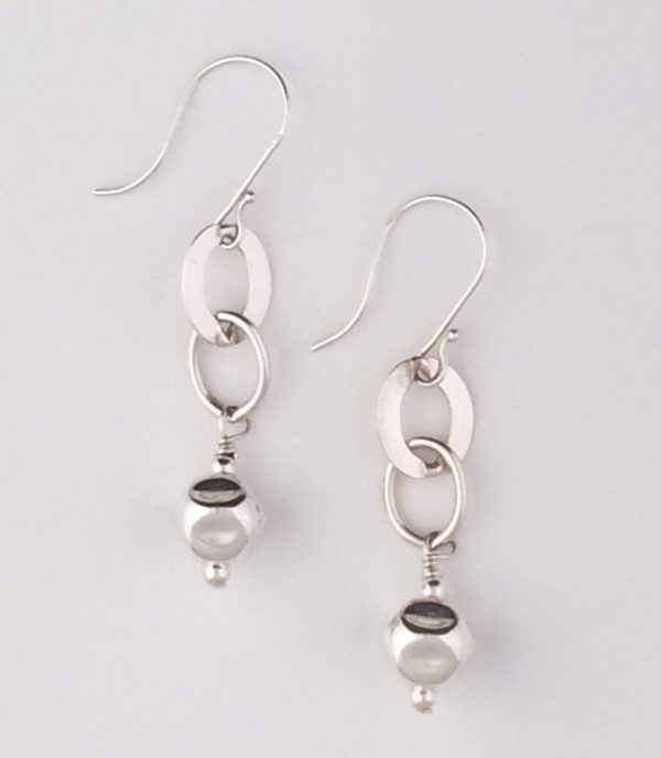 Sterling Silver Link and Dented Ball Earrings