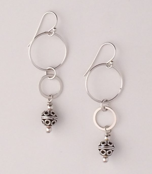 Sterling Silver Circle Link and Bali Bead Earrings