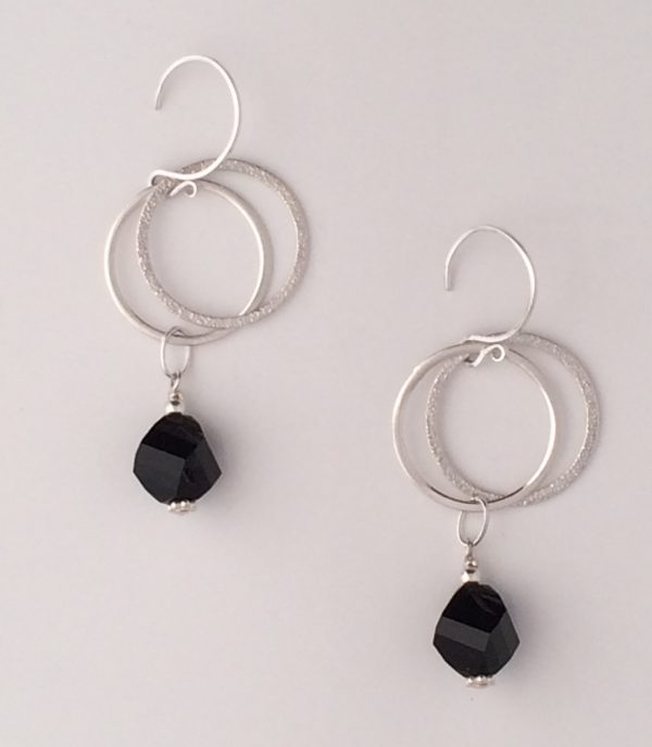 """Sterling Silver Circle and """"Jet"""" Swarovski Crystal Earrings"""
