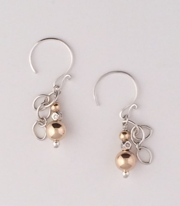 Gold and Sterling Silver Dangle Earrings