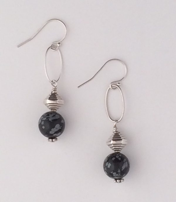 Snowflake Obsidian and Sterling Silver Bali Bead Earring
