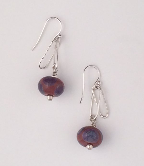 Hand Made Glass Beads and Sterling Silver Earrings