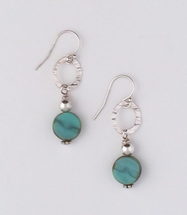Sterling Silver Link and Turquoise Glass Bead Earrings