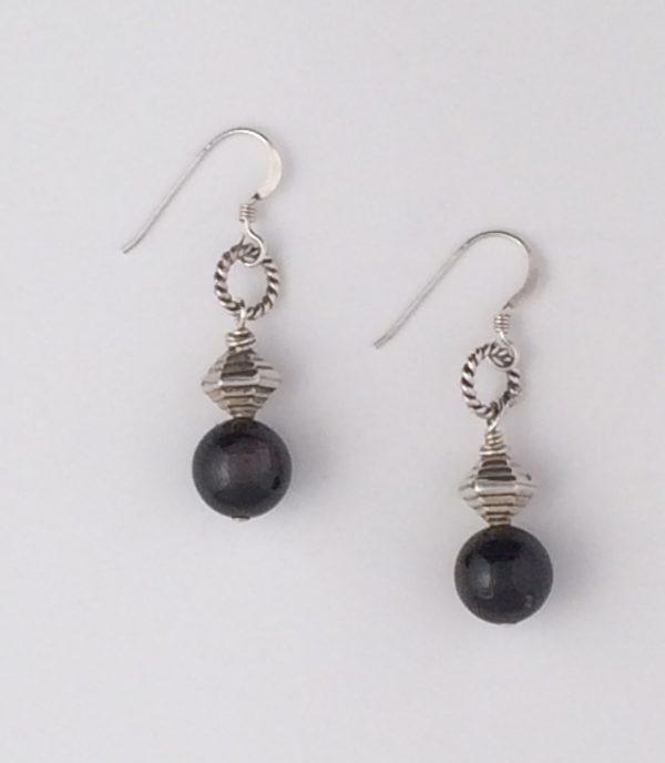 Golden Sheen Obsidian and Sterling Silver Earrings