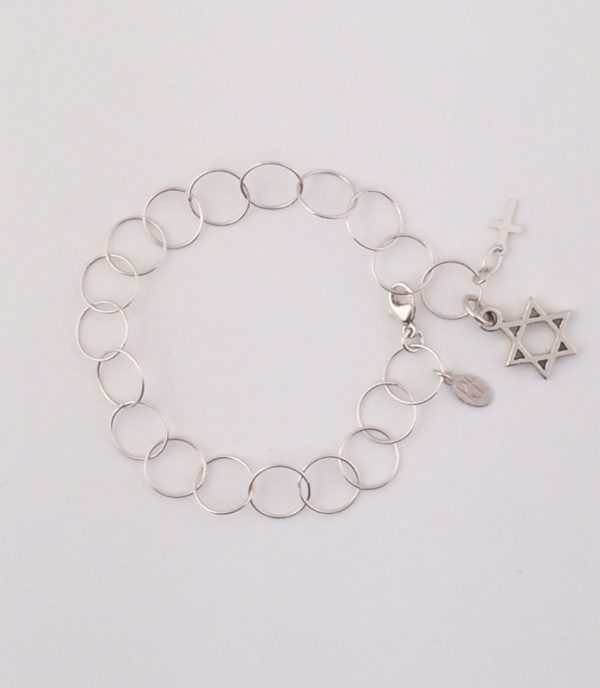 Sterling Silver Circle Chain Bracelet with Star of David and Mini Cross