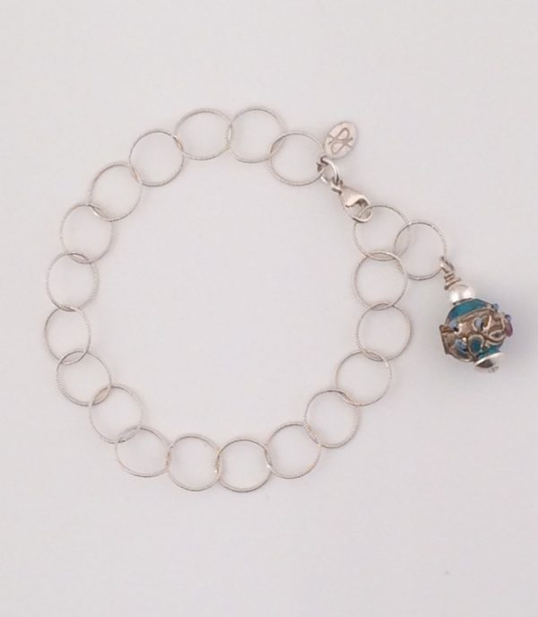 Sterling Silver Circle Chain Bracelet with Turquoise Glass Bead