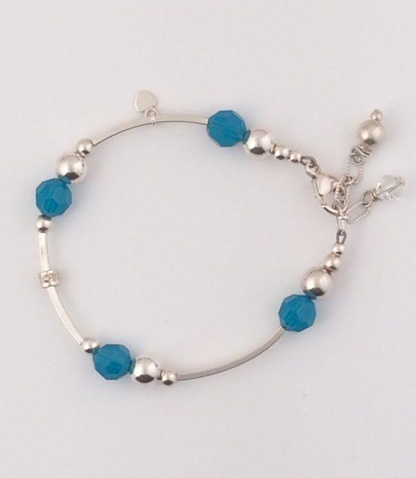 Sterling Silver Bar Bracelet with Turquoise Swarovski Crystals