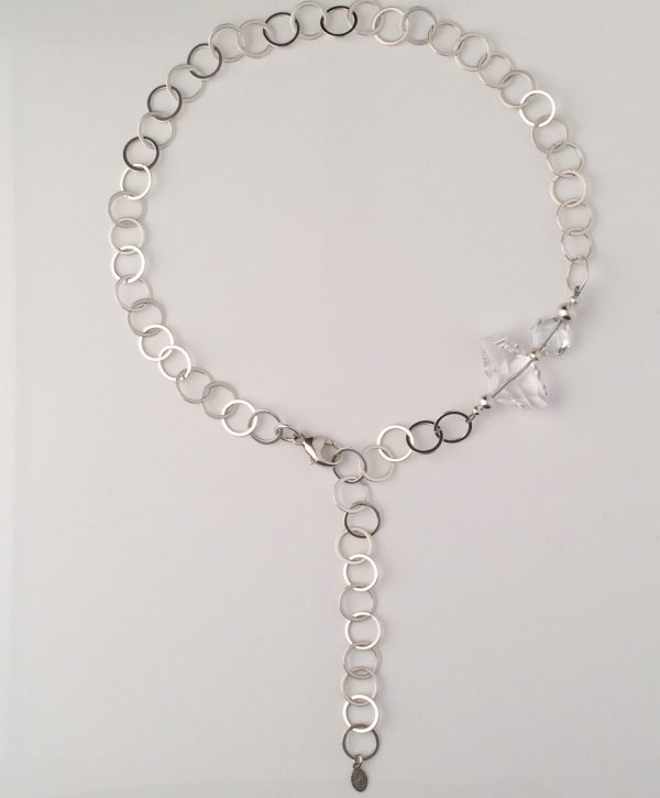 Sterling Silver Circle Chain with Swarovski Crystal