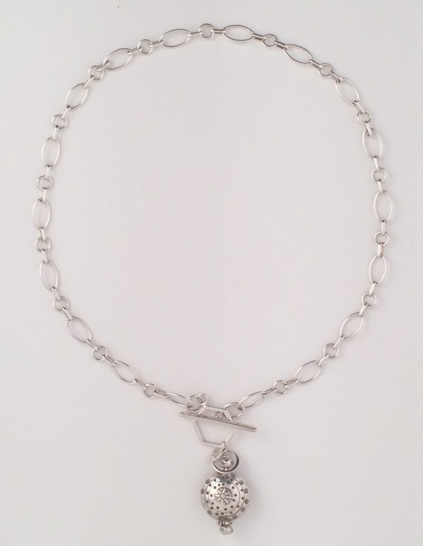 Sterling Silver Toggle Necklace with Bali Bead