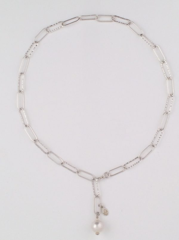 Sterling Silver Paperclip Chain with Swarovski Pearl Dangle