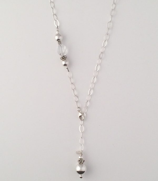 Sterling Silver Oval Chain with Swarovski Crystal and Bali Beads