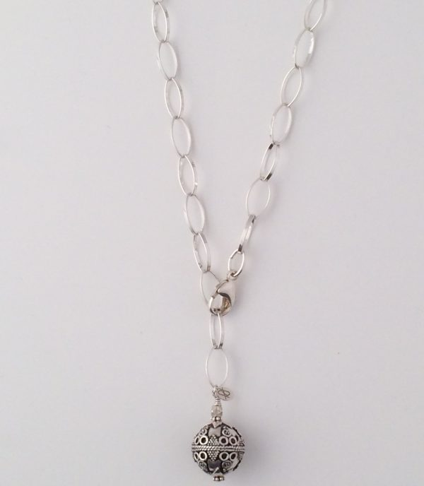 Medium Sterling Silver Oval Chain with Large Bali Ball Dangle