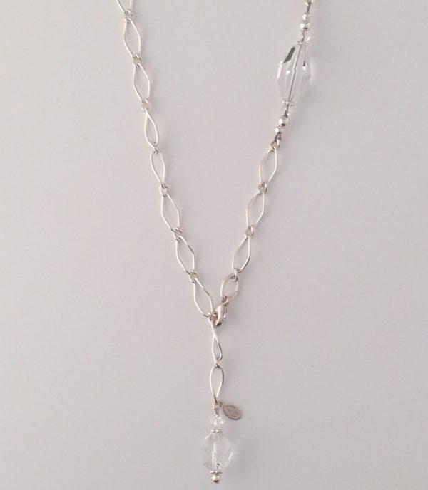 Sterling Silver Twist Chain with Swarovski Crystals