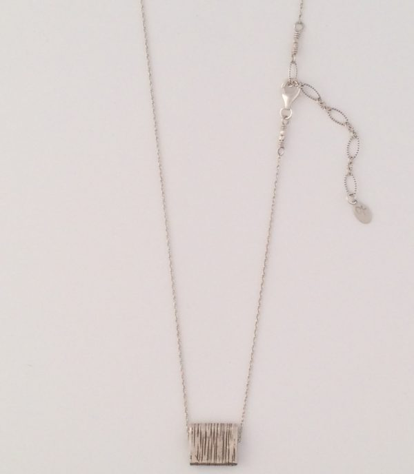 Fine Sterling Chain with Textured Square Bali Bead Necklace