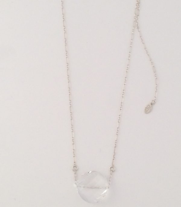 Swarovski Coin Crystal and Sterling Silver Chain Necklace