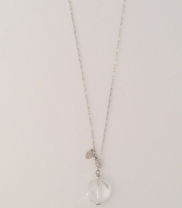 Delicate Sterling Silver and Swarovski Coin Crystal Necklace