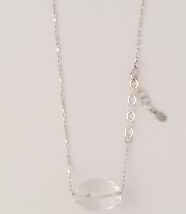 Sterling Silver Box Chain Necklace with Large Quartz Crystal Accent