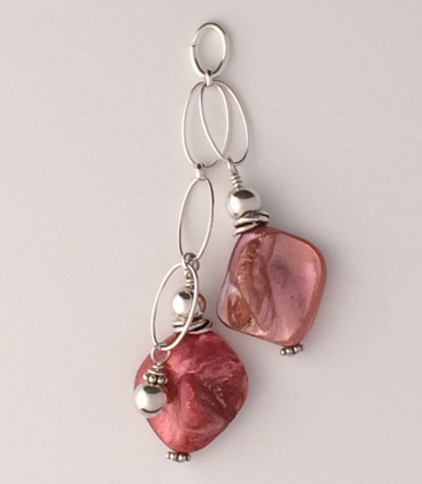 Coral Shell and Sterling Silver Pendant