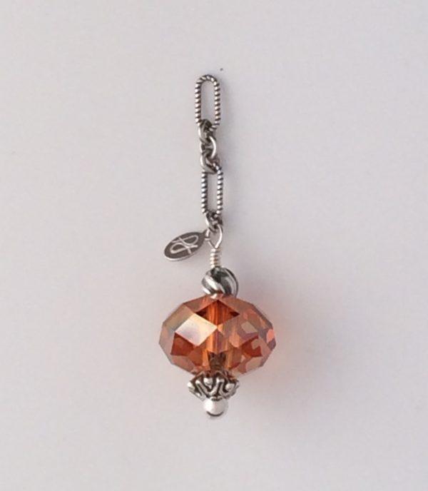 Blackened Sterling Silver and Copper Swarovski Crystal Pendant