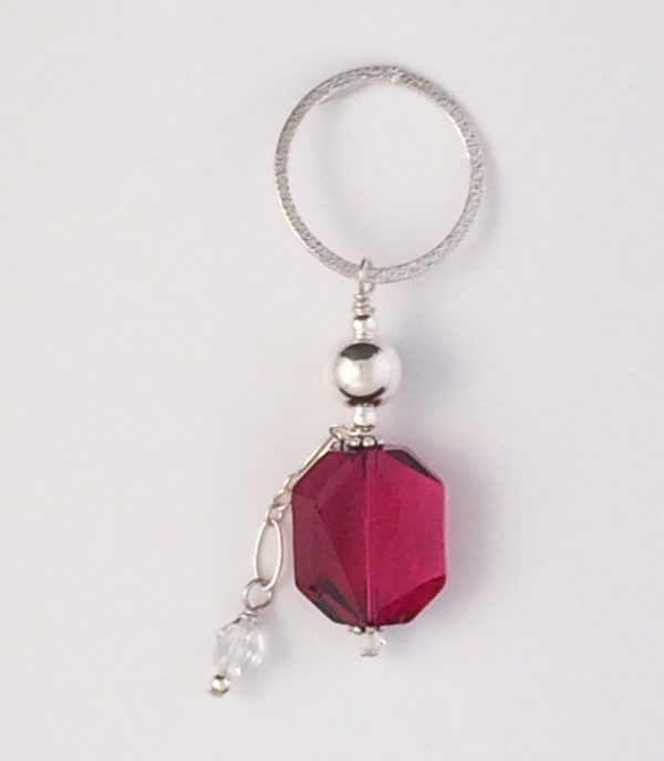 Sterling Silver and Ruby Swarovski Pendant with Crystal Dangle