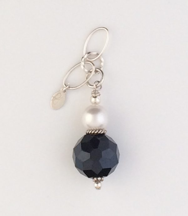Sterling Silver, Black Chinese Crystal and Swarovski Pearl Pendant