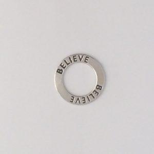 """Sterling Silver """"Believe"""" Donut"""