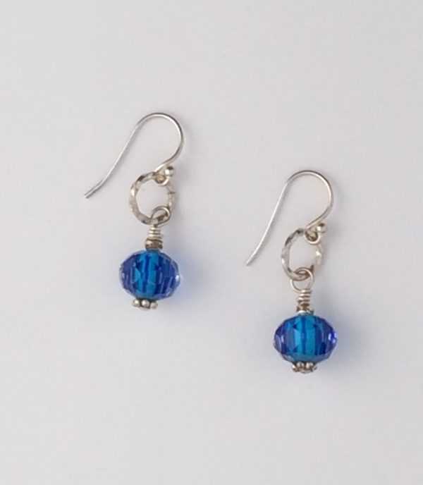 Variegated Blue Glass and Sterling Silver Earrings