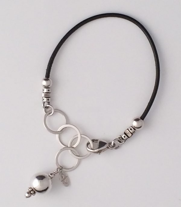 Leather Bracelet with Sterling Silver Accents