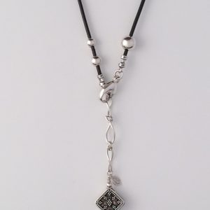 Leather and Sterling Silver Accent Necklace