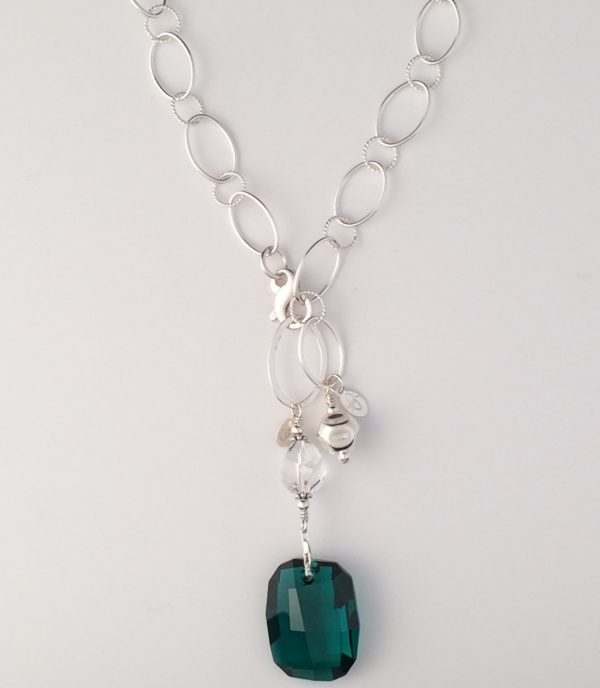 Sterling Silver Oval and Textured Chain with Dented Ball