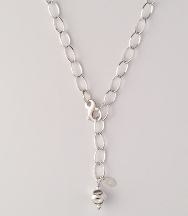 Sterling Silver Oval Chain with Dented Ball