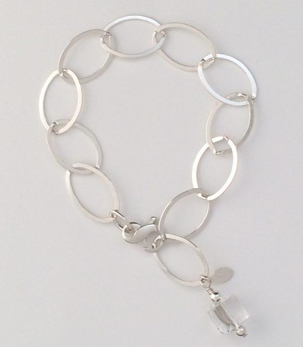 Large Oval Sterling Silver Chain and Swarovski Cube Crystal Bracelet