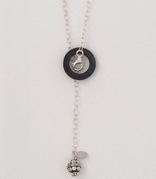 Sterling Silver Fine Circle Chain with Bali Dangle