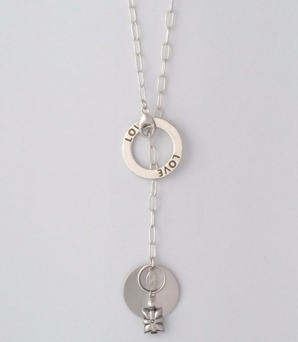 Sterling Silver Oval Chain with Coin and Bali Dangle