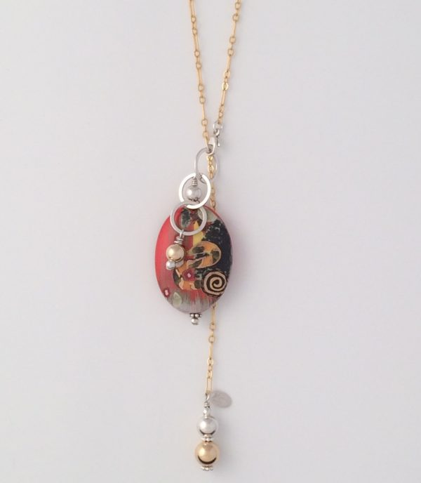Gold Chain with Gold and Silver Dangle