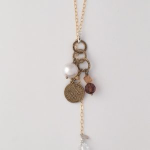 Gold Delicate Oval Sparkle Chain with Swarovski Crystal Dangle