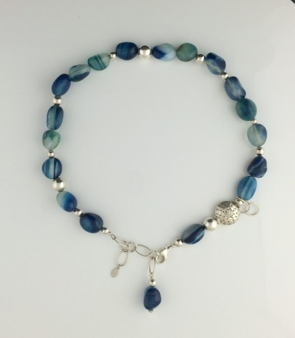 Sea Blue Chalcedony and Sterling Silver Necklace