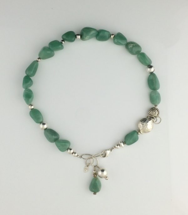 Natural Green Adventurine and Sterling Necklace