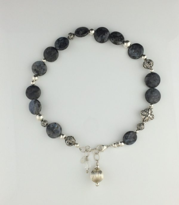 Shimmering Grey Labradorite and Sterling Silver Necklace