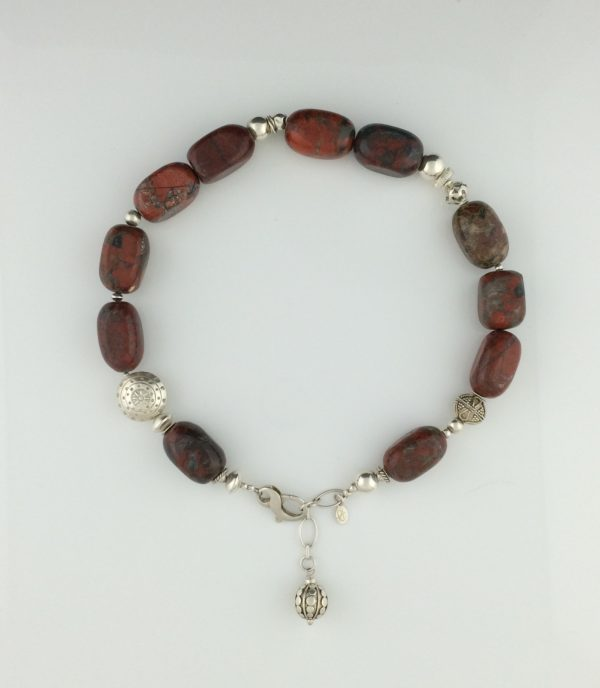 Red Rainbow Jasper and Sterling Silver Necklace