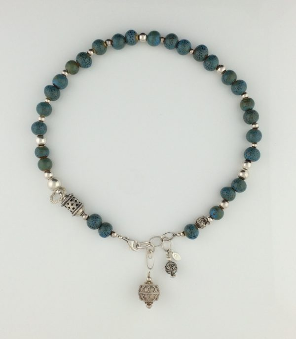 Turquoise Porcelain Bead and Sterling Silver Bali Necklace