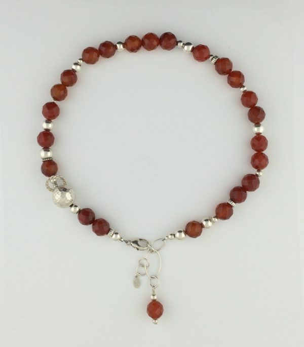 Faceted Brillant Orange Carnelian and Sterling Silver Necklace