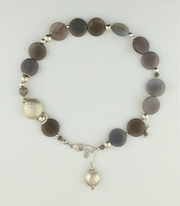 Variegated Grey Agate and Sterling Silver Bali Necklace