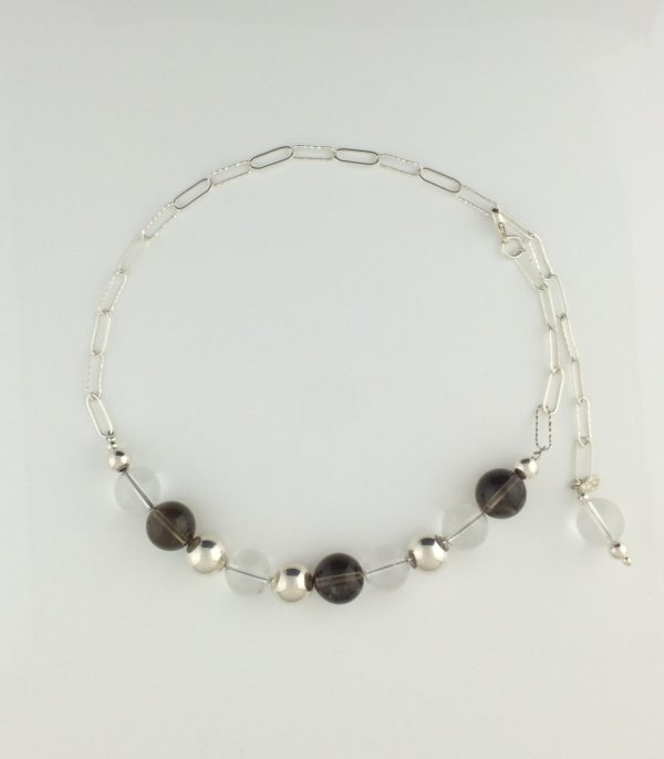 Sterling Silver, Smokey Quartz and Clear Quartz Crystal Ball Necklace